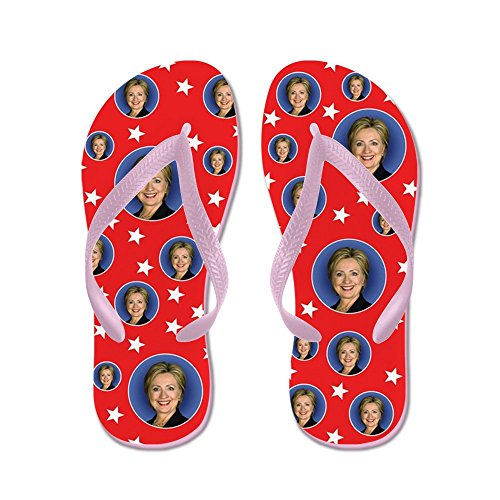 CafePress The Many Faces Of Hillary Clinton - Flip Flops, Funny Thong Sandals, Beach Sandals Pink