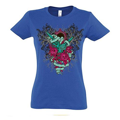 2 Guns Roses Growing Tree Awesome Design Theme Women Damen Blue T-shirt