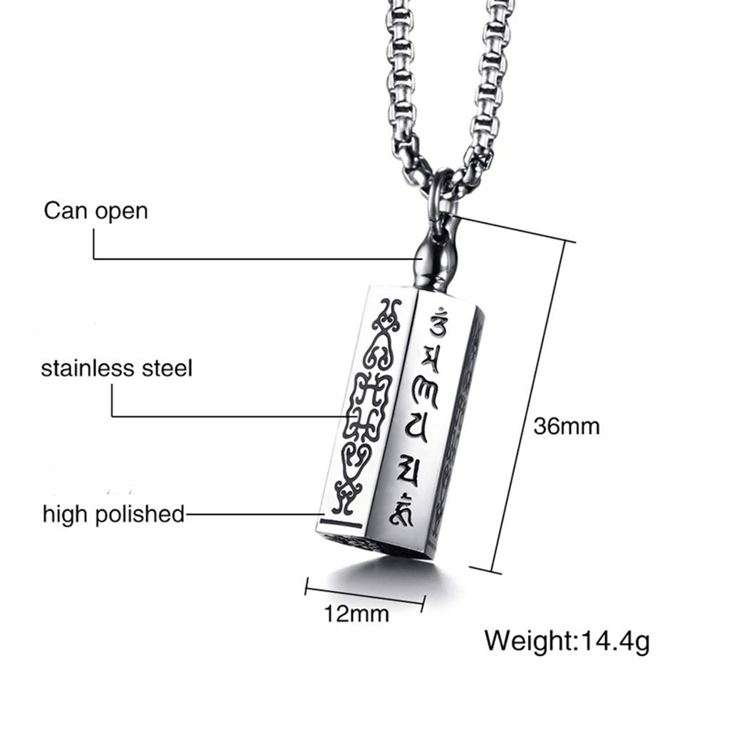 XCJ Mens Pendant Necklace Stainless Stell Choker Unisex European and American Style Chain Jewelry 36MM Six-Word Jewelry Gift