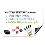 Premium Magnetic Dry Erase Fridge Whiteboard Sheet 17'' x 11''/VALUE PACK/Kitchen Fridge Grocery List/Kids Drawing Board/Todo List!Includes a Set of 9 Markes (White)