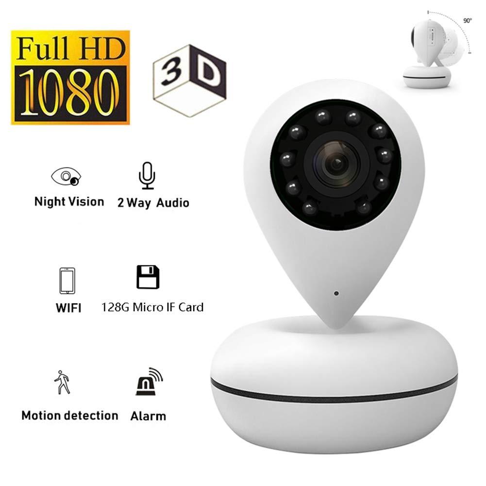 OMZBM 3D 360 Panorámica 1080P HD Cámara Domo, Wireless WiFi IP Gota De Agua Forma Monitor con Intercomunicador Bidireccional, Visión Nocturna IR, ...
