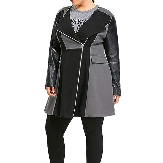 Lang Geili Damen Mantel Patchwork Parka Reißverschlus Wolle mit Winter Frauen Mantel Reverskragen Übergrößen Warme Tweed Jacke Leder Jacken m8Nn0vw
