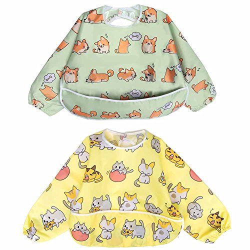 Long Sleeved Bib Waterproof Bibs for Babies and Toddlers with Pocket (6-24 Months) - Pack of 2 by Little Dimsum