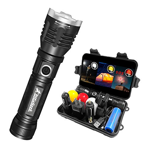 Bright Flashlight, EDC 1200 Lumens Tactical Flashlight, Multi-Function Emergency Flashlight, Rechargeable Outdoor Camping Lantern, 5 Modes 4x Zoomable Waterproof Magnetic Base Bigcheck Mini Flashlight