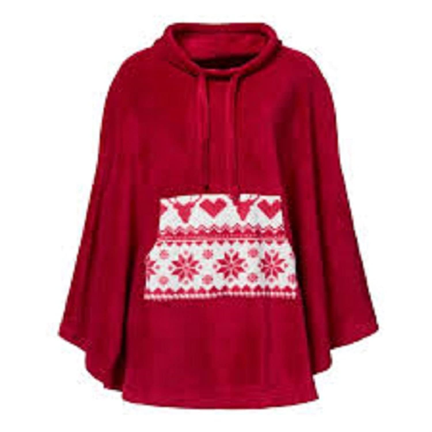 Red Funnel Neck Poncho - Ladies 22/24