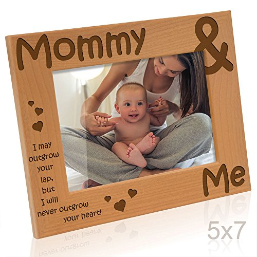 Kate Posh - Mommy & Me Engraved Natural Wood Picture Frame - Mother's Day Gifts, I Love Mommy Photo Frame, Christmas Gifts, New Baby Gifts, Nursery Picture Frame, New Mom Gifts (5x7-Horizontal)