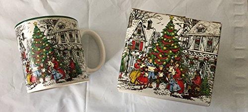 Potpourri Mug - Potpourri Press VINTAGE Christmas Tree People Caroling Holiday Coffee Tea Mug Cup 12 oz
