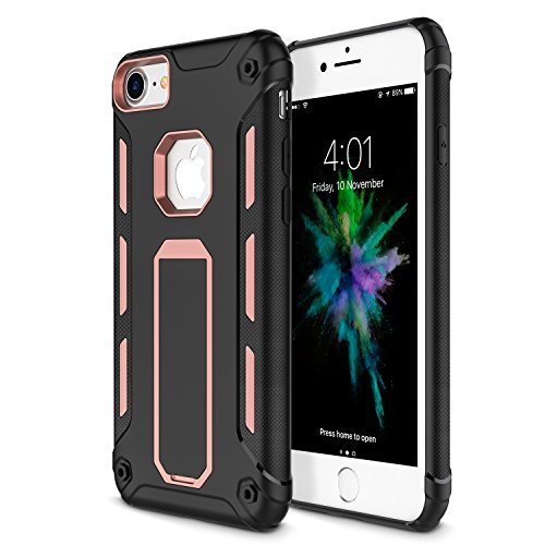 iPhone 8 Case, iPhone 7 Case, Vabogu [Heavy Duty] Soft TPU & Hard PC Rugged Dual Layer Case with kickstand for iPhone 8 (2017) & iPhone 7 (2016) (Rose Gold)