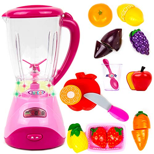 Toysery Electric Realistic Fruit Blender Kitchen Appliance Toy Set for Kids| Role Play Kitchen Toys Accessories with Lights and Music | Kids Home & Kitchen Playset Pretend Play Toy Kitchen for Toddler