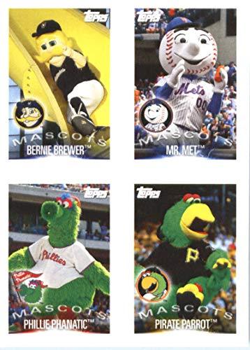 2019 Topps MLB Baseball Sticker #183 / 197 / 200 / 207 Bernie Brewer / Mr. Met / Phillie Phanatic / Pirate Parrot / Stephen Piscotty Milwaukee Brewers / New York Mets / Philadelphia Phillies / Pittsburgh Pirates / Oakland Athletics
