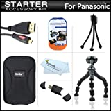 Starter Accessories Kit For The Panasonic DMC-FX90K Digital Camera Includes Deluxe Carrying Case + 7'' Flexible Tripod + Micro HDMI Cable + USB High Speed 2.0 SD Card Reader + LCD Screen Protectors + Mini TableTop Tripod + MicroFiber Cleaning Cloth