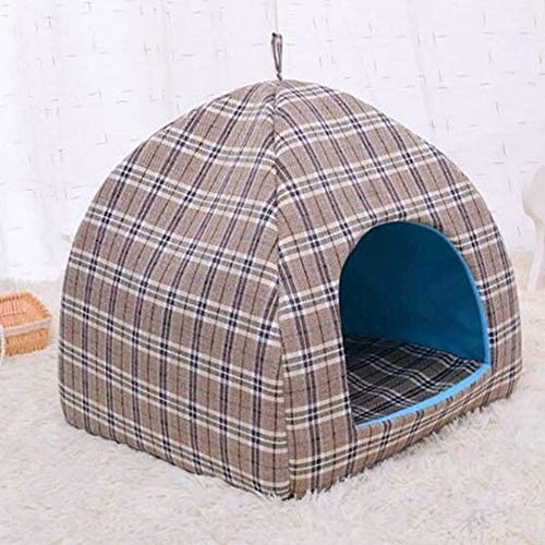 フェンコー柔らかく通気性 ペットのベッド猫のベッド小さな犬小屋四季のユニバーサル/猫の巣茶色の取り外し可能な洗濯可能、屋内と屋外の屋内と屋外で使用することができます フェンコー柔らかく通気性 (Size : M)