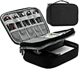 BAONA Double Layer Travel Universal USB Cable Organizer Cases Electronics Accessories Storage Bag for Various USB Drive, Charger, Cable, Hard Drive Disk, Power Bank, Phone and Ipad mini -Black