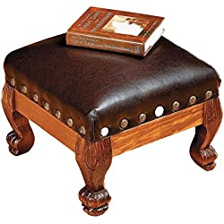 OTC Wood Faux Leather Footstool