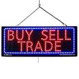 LARGE LED OPEN SIGN - ''BUY SELL TRADE'' 13''X32'' size, ON / OFF / FLASHING MODE (LED-Factory #2636)