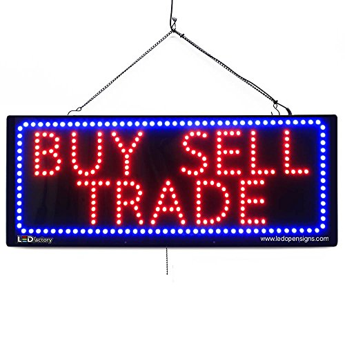 LARGE LED OPEN SIGN - ''BUY SELL TRADE'' 13''X32'' size, ON / OFF / FLASHING MODE (LED-Factory #2636) by LED-Factory