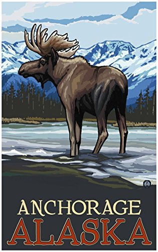 Anchorage Alaska Moose In Stream Travel Art Print Poster by Paul A. Lanquist (24