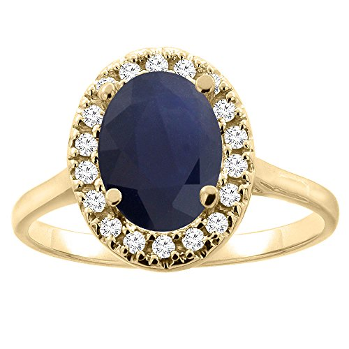 10K Yellow Gold Natural Blue Sapphire Halo Ring Oval 9x7mm Diamond Accent, size 6.5