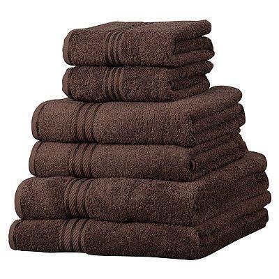 6 toallas de hotel - 100% extraordinario algodón egipcio - Chocolate: Amazon.es: Hogar
