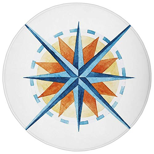 Round Rug Mat Carpet,Compass,Watercolor Directions North South East West Windrose Pathfinding Work of Art,Burnt Sienna Blue,Flannel Microfiber Non-Slip Soft Absorbent,for Kitchen Floor Bathroom -