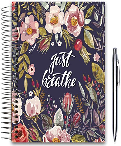 - April 2019-2020 Planner 5x8 - Hardcover - Daily Weekly Monthly - Academic Planner Year - Tools4Wisdom Just Breathe Floral Cover
