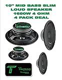 (4) Timpano TPT-MB10 Slim 10'' 4 Ohm 1600W Mid Bass Loudspeaker 2 Pair