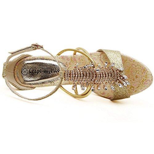 Amoonyfashion Donna Materiale Morbido Open Toe Punte Stiletti Fibbia Sandali Solidi Oro