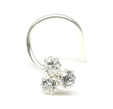Buy Karizma Jewels Silver Nose Stud For Women Corkscrew Nose Ring