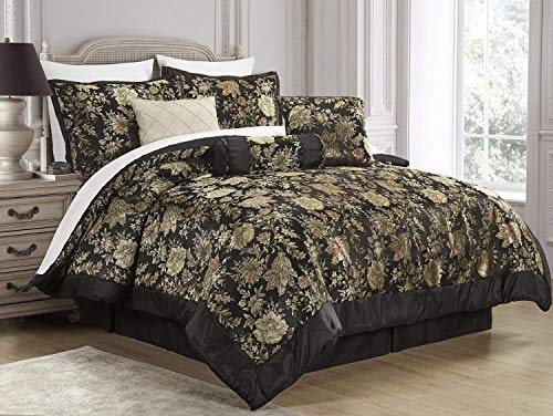 7-Piece Jacquard Floral Comforter Sets Queen,Bedding Sets Bed-in-a-Bag ()