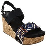 Sugar Women's Jinxy Slingback Cork Platform Wedge Sandal with Tribal Aztec Print and Buckle 8.5 Black Tribal