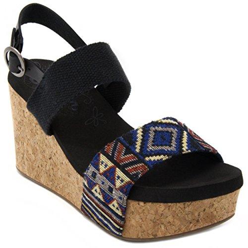Leopard Print Wedge Slingback - Sugar Women's Jinxy Slingback Cork Platform Wedge Sandal with Tribal Aztec Print and Buckle 6.5 Black Tribal