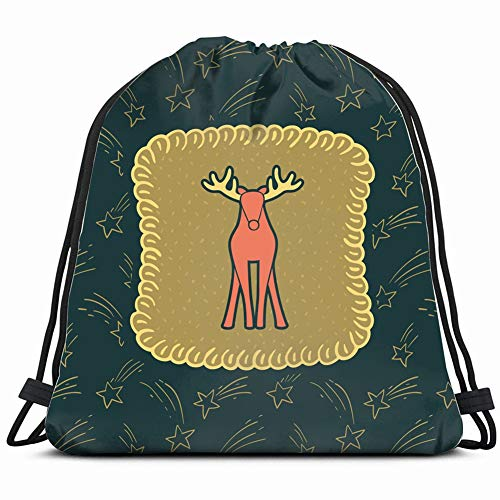 christmas new year vintage ornate frame holidays signs symbols Drawstring Backpack Gym Sack Lightweight Bag Water Resistant Gym Backpack for Women&Men for Sports,Travelling,Hiking,Camping,Shopping - Comet Christmas Ornaments