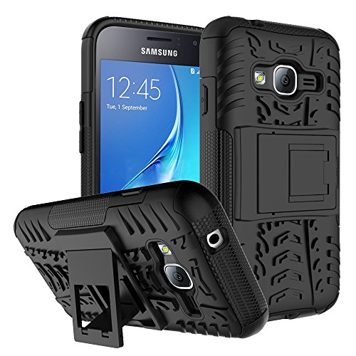Samsung Galaxy J1 Mini Prime Case Remex Military Tires Leather And Kickstand with Shockproof and Anti-Scratch and Non-Slip Case For Samsung Galaxy J1 Mini Prime (Black)