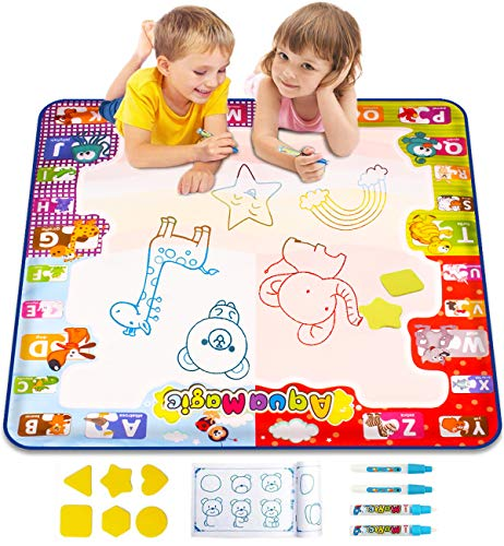 "KIZZYEA Water Doodle Mat,Kids Toys Large Aqua Drawing Mat Toddlers Painting Board Neon Colors,Gifts Girls Boys Age 2 3 4 5+ Year Old,30"" X 30"",4 Pens,Drawing Molds Booklet Included"