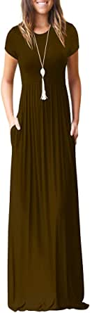 Choha Womens Short Sleeve Plain Maxi Dress Casual Long Dresses with Pockets