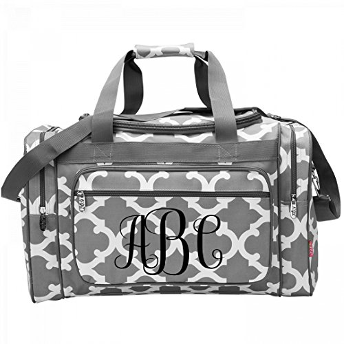 Personalized Monogram Travel Bag: Patterned Zippered Duffel (Girly Letters)