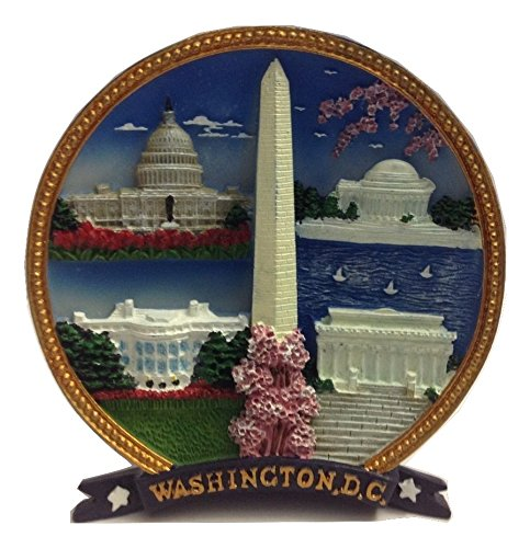 Colorful 3D Washington Monument, US Capitol, Jefferson Memorial, White House, Lincoln Memorial with Cherry Blossom Decorative - Washington Monument Lincoln Dc
