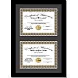 CreativePF [14x20.5bk-b] Double Diploma Frame with Black Mat, Holds Two 8.5 by 11-inch Documents with Wall Hanger