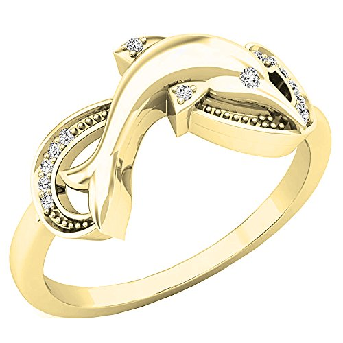 Dazzlingrock Collection 0.08 Carat (ctw) 10K Round Cut White Diamond Ladies Right Hand Dolphin Ring, Yellow Gold, Size - Cut Dolphin Ring