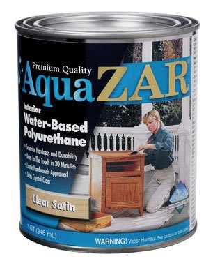 Aqua Zar Water-Based Polyurethane Finish Water Based Satin Clear 1 Qt
