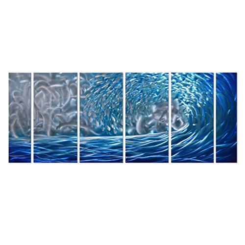 Pure Art Blue Ocean Waves Metal Wall Art, Large Decor in Abstract Ocean Design, 3D Wall Art for Modern and Contemporary Decor, 6-Panels Measures 24