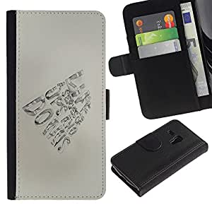 KingStore / Leather Etui en cuir / Samsung Galaxy S3 MINI 8190 / Pluma Papel mano motivación