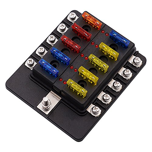 10 Way Car Fuses Block Box Holder,INorton Blade Fuse Holder with LED Indicator,Standard Circuit Blade Fuse Holder Box Block with Waterpoof Cover for Automotive Marine Boat by INorton