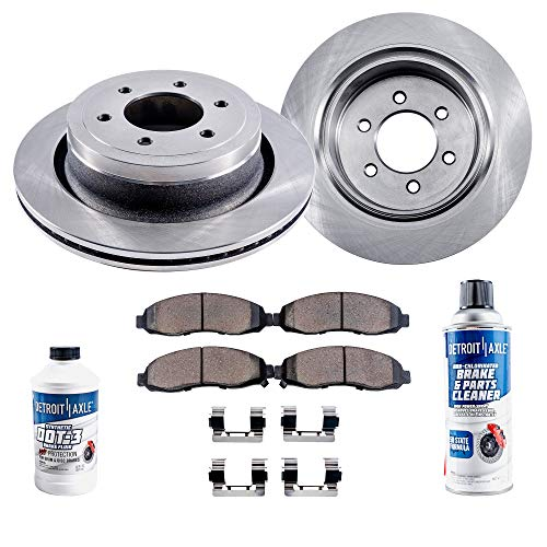 Detroit Axle - Pair (2) 6LUG Front Brake Rotors w/Ceramic Pads w/Hardware & Brake Cleaner & Fluid for 2010 2011 2012 2013 2014 2015 2016 20017 2018 Ford Expedition/Ford F-150/ Lincoln Navigator