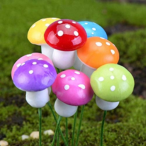 KimokaCake 50pcs Mini Red Mushroom Garden Ornament Pots Fairy Dollhouse Gardening Stakes DIY Decor Landscape Miniature Bonsai ()