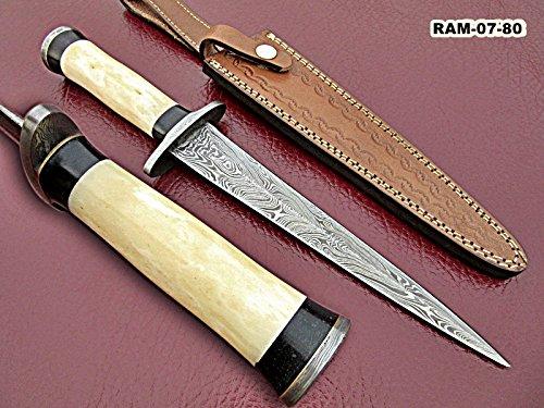 - RAM-07-80, Handmade Damascus Steel Dagger Knife - Solid Bone and Black Colored Wood Handle