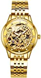 PASOY Womens Automatic Mechanical Watches Gold Diamond Dila Stainless Steel Bnad Phoenix Skeleton Watch