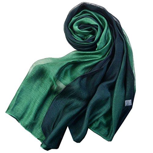 (SNUG STAR Cotton Silk Scarf Elegant Soft Wraps Color Shade Scarves for Women (Dark green))
