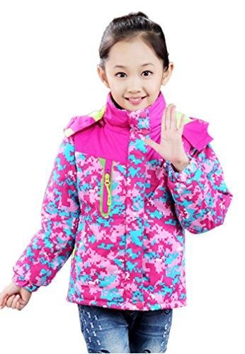 Big Girl Children Outdoor Hoody Camouflage Wind Jacket Waterproof Fuchsia