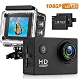 Sasrl Action Camera , 12MP 1080P 2 Inch LCD Screen , Waterproof Sports Cam 120 Degree Wide Angle Lens , 30m Sport Camera DV Camcorder With 2 Rechargeable Batteries and 9 Accessory Kit (Black-1080P)